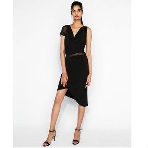 Express, Black Asymmetrical Midi Cocktail Dress